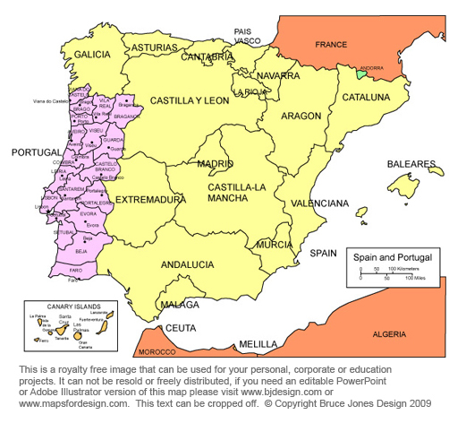Free Printable Map Of Spain